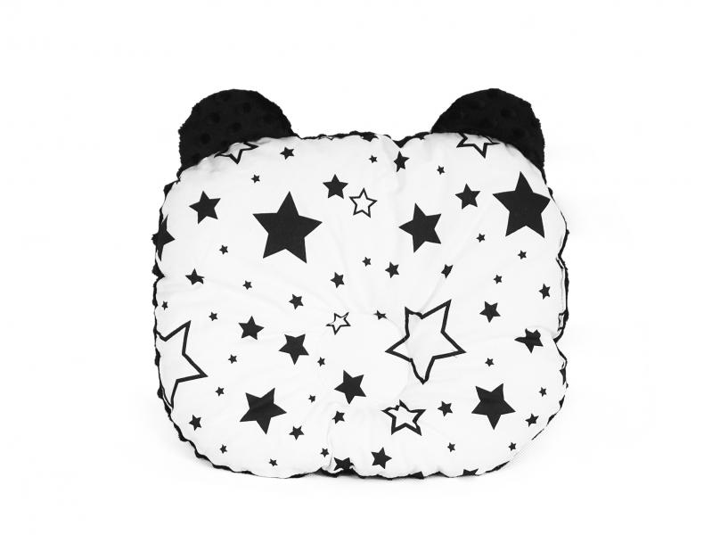 Baby Nellys Obojstranný vankúšik s uškami, 30x35cm - Hviezdičky, Minky čierna