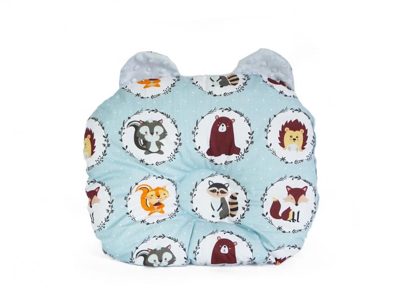 Baby Nellys Obojstranný vankúšik s uškami, 30x35cm - Zvieratka, Minky biela