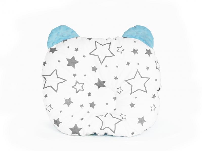 Baby Nellys Obojstranný vankúšik s uškami, 30x35cm - Hviezdičky, Minky modrá