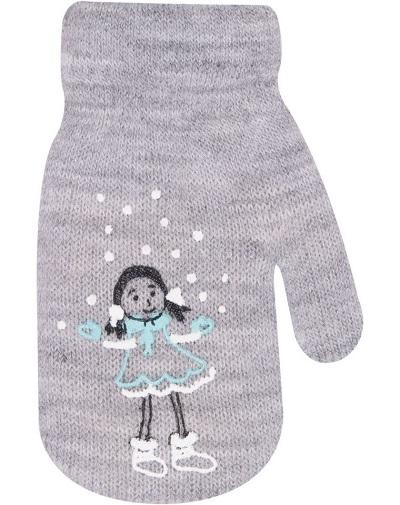 YO !  Dievčenské akrylové rukavičky oteplené YO - so šnúrkou, sivé-10cm rukavičky