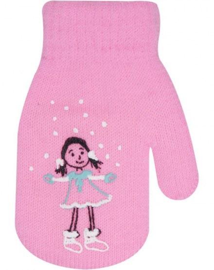Dievčenské akrylové rukavičky oteplené YO - so šnúrkou, růžové-10cm rukavičky