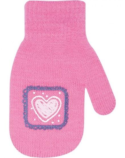 Dievčenské akrylové rukavičky oteplené YO - so šnúrkou, malinové-10cm rukavičky