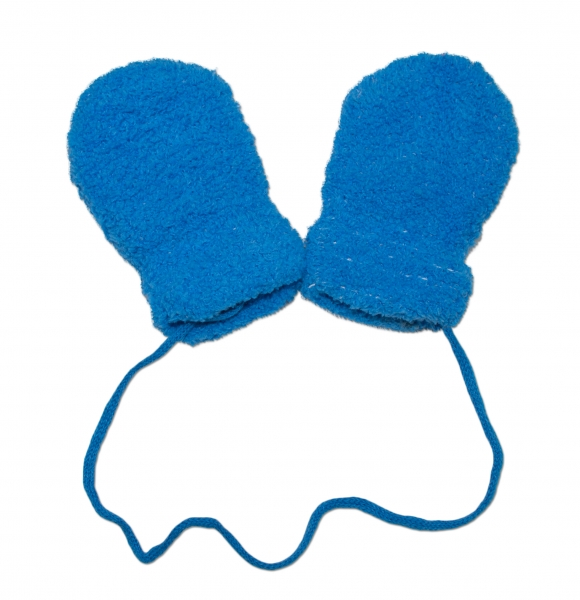 YO !  Zimné dojčenské froté rukavičky zo šňůrkou YO - modré-9cm rukavičky