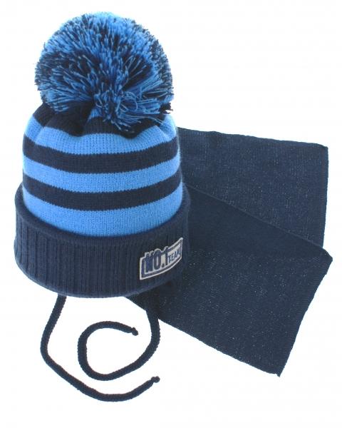 BABY NELLYS Zimná pletená čiapočka s šálom No.1 Team - prúžky granát / modrá-34/36 čepičky obvod