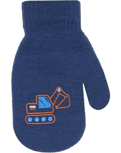 Chlapčenské akrylové rukavičky oteplené YO - so šnúrkou, tm. modré, veľ. 12cm