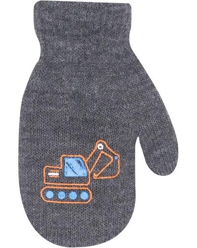 YO !  Chlapčenské akrylové rukavičky oteplené YO - so šnúrkou, sivé
