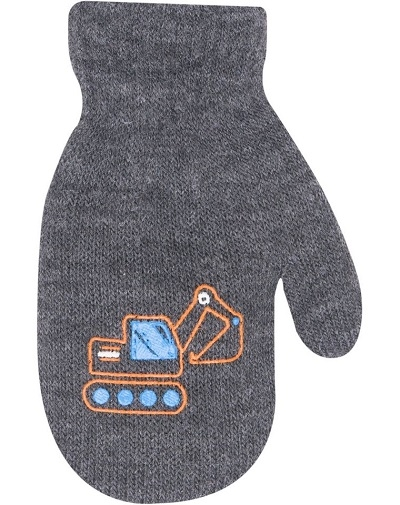 YO !  Chlapčenské akrylové rukavičky oteplené YO - so šnúrkou, sivé, veľ. 12 cm