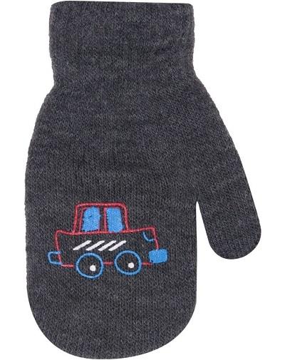 Chlapčenské akrylové rukavičky oteplené YO - so šnúrkou, grafitové, veľ. 13-14 cm