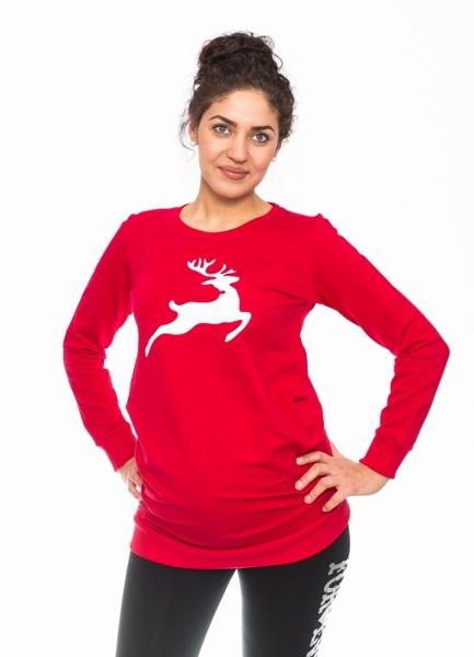 Tehotenské triko, mikina Renifer - červené