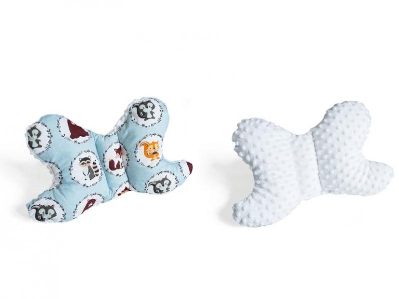 Baby Nellys Obojstranný vankúšik Motýlik - Zvieratka, minky biela