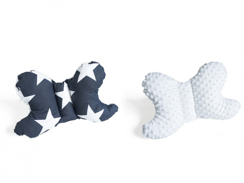 Obojstranný vankúšik Motýlik - Hviezdy, minky biela