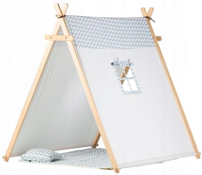 Stan pre deti teepee, típí s výbavou - šedý zig zag