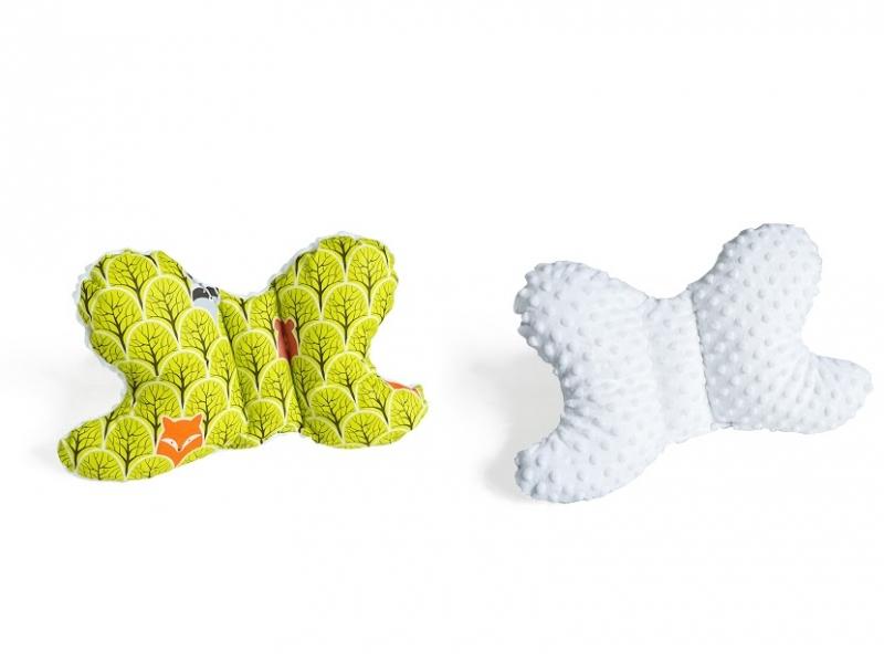 Obojstranný vankúšik Motýlik - lesík zelený, minky biela