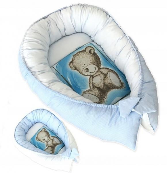 Baby Nellys Obojstranné hniezdočko, kokon Teddy  80x45x15cm - modré