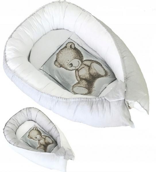 Baby Nellys Obojstranné hniezdočko, kokon Teddy  80x45x15cm - sivé
