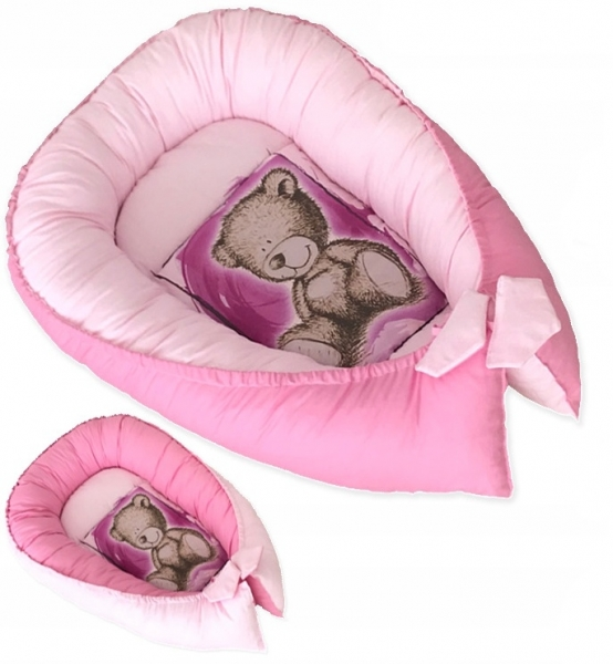 Baby Nellys Obojstranné hniezdočko, kokon Teddy  80x45x15cm - ružové