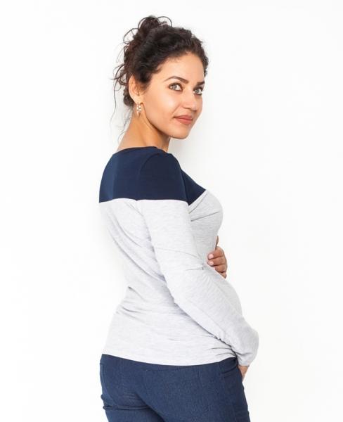 Tehotenské tričko / blúzka dlhý rukáv Anna - sivý melír/granát