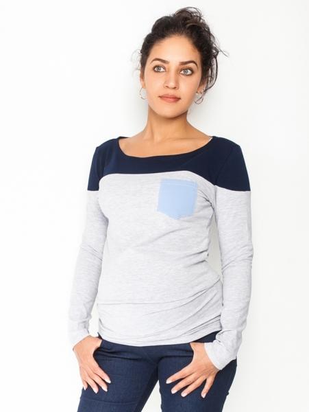 Be MaaMaa Tehotenské tričko / blúzka dlhý rukáv Anna, veľ. M - sivý melír