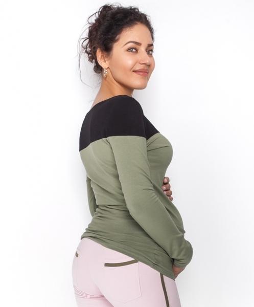 Tehotenské tričko / blúzka dlhý rukáv Anna - khaki/čierna