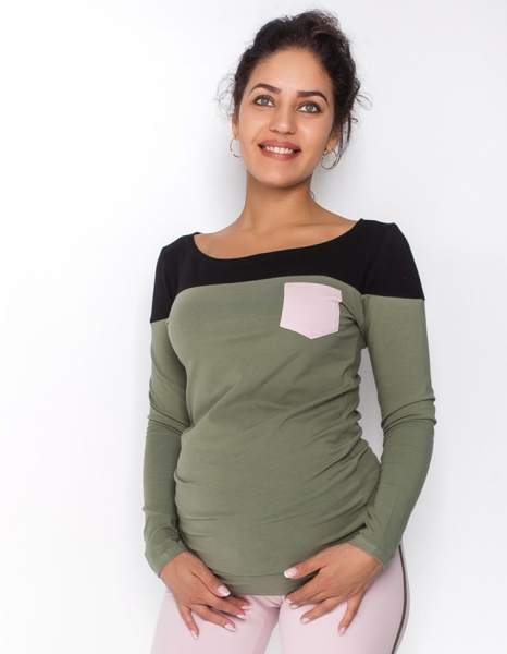 Be MaaMaa Tehotenské tričko / blúzka dlhý rukáv Anna, veľ. L - khaki/čierna