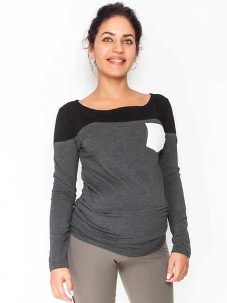 Be MaaMaa Tehotenské tričko / blúzka dlhý rukáv Anna, veľ. M - čierna/grafit
