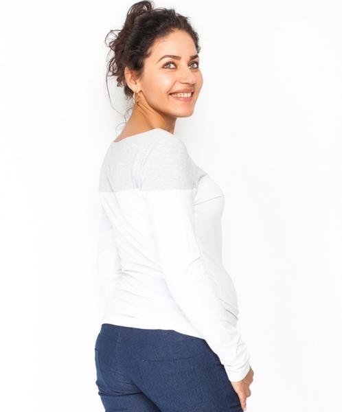 Tehotenské tričko / blúzka dlhý rukáv Anna - biely/sivý melír