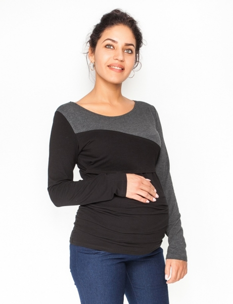 Tehotenské, dojčiace tričko / blúzka dlhý rukáv Jana - čierna/grafit-XS (32-34)