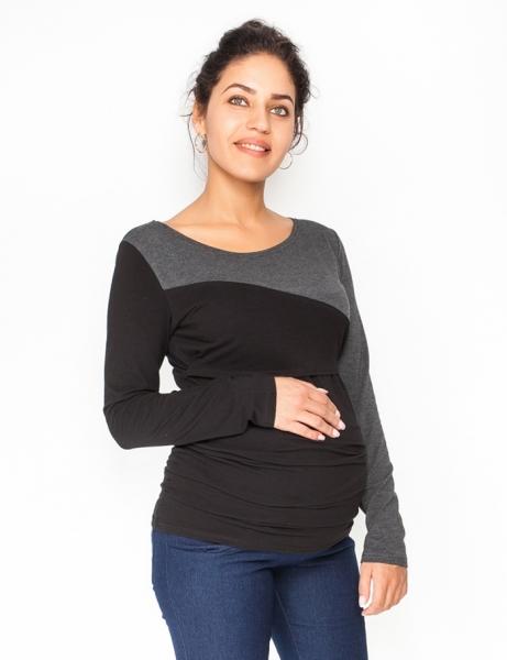 Be MaaMaa Tehotenské, dojčiace tričko / blúzka dlhý rukáv Jana, veľ. M - čierna/grafit