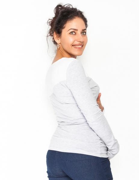Tehotenské, dojčiace tričko / blúzka dlhý rukáv Jana - sivý melír/biela