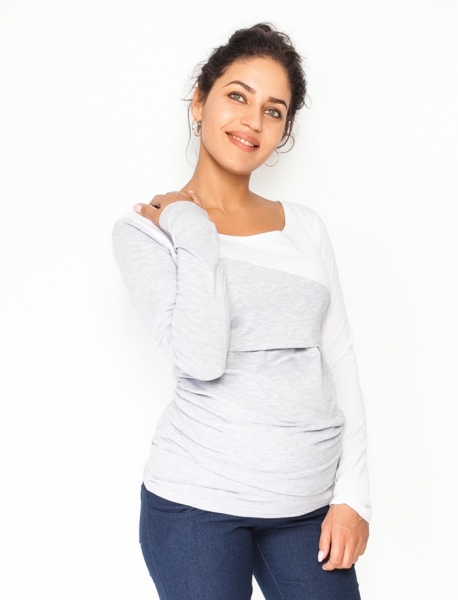 Be MaaMaa Tehotenské, dojčiace tričko / blúzka dlhý rukáv Jana, veľ. XL - sivý melír/bílá