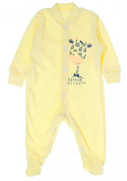 Bavlnený overálek Žirafka, veľ. 62 - žltý-62 (2-3m)