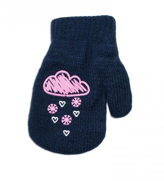 Dievčenské akrylové rukavičky oteplené YO - so šnúrkou, granátové, veľ. 12 cm-12cm rukavičky