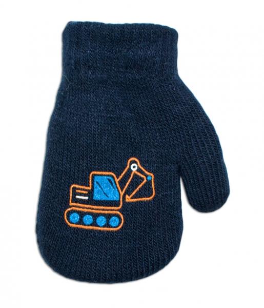 YO !  Chlapčenské akrylové rukavičky oteplené YO - so šnúrkou, granátové, veľ. 13-14 cm