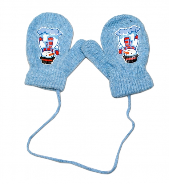 Zimné dojčenske rukavičky vlnené - so šnúrkou a potlačou YO - sv. modré, veľ. 12 cm-12cm rukavičky