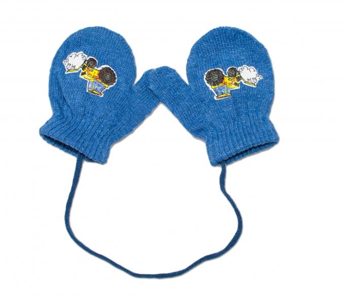 YO !  Zimné dojčenske rukavičky vlnené - so šnúrkou a potlačou YO - jeans-10cm rukavičky