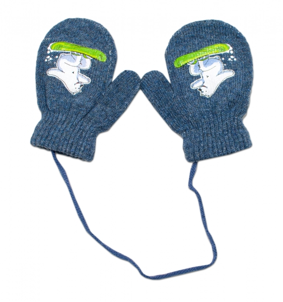 Zimné dojčenske rukavičky vlnené - so šnúrkou a potlačou YO - grafit, veľ. 13-14 cm