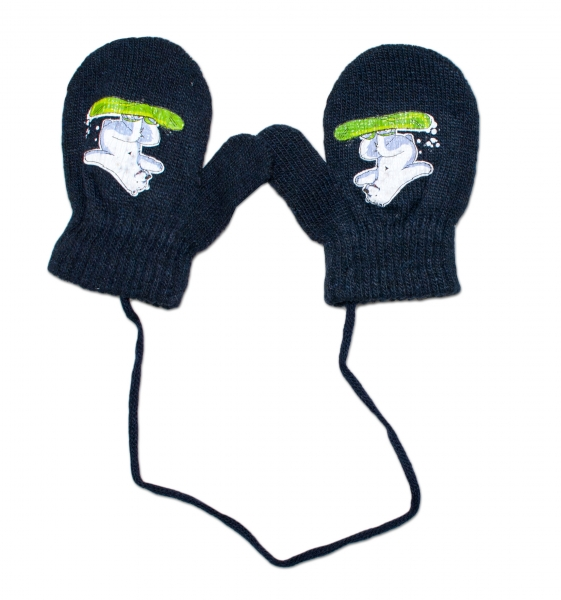 YO !  Zimné dojčenske rukavičky vlnené - so šnúrkou a potlačou YO - granat, veľ. 12 cm-12cm rukavičky