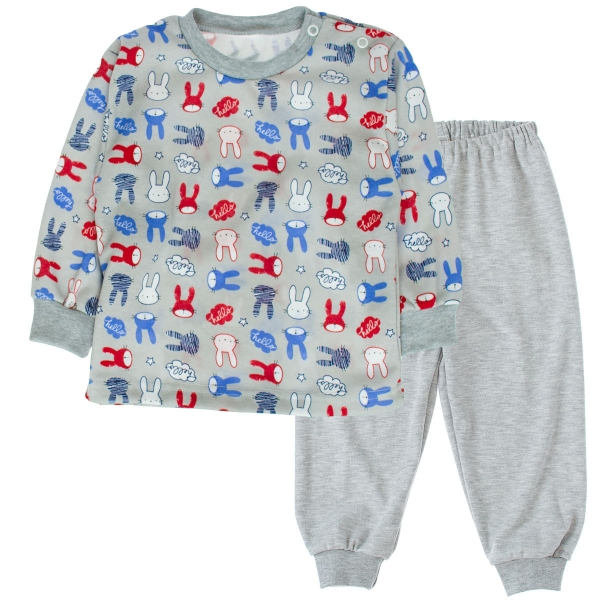 Bavlnené pyžamko Králici - sivé-80 (9-12m)
