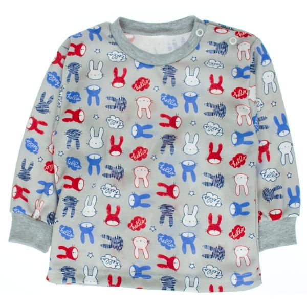 Kojenecké bavlnené pyžamko Králik - sivé, veľ 80