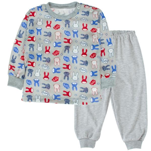 Bavlnené pyžamko Králici - sivé, veľ. 92