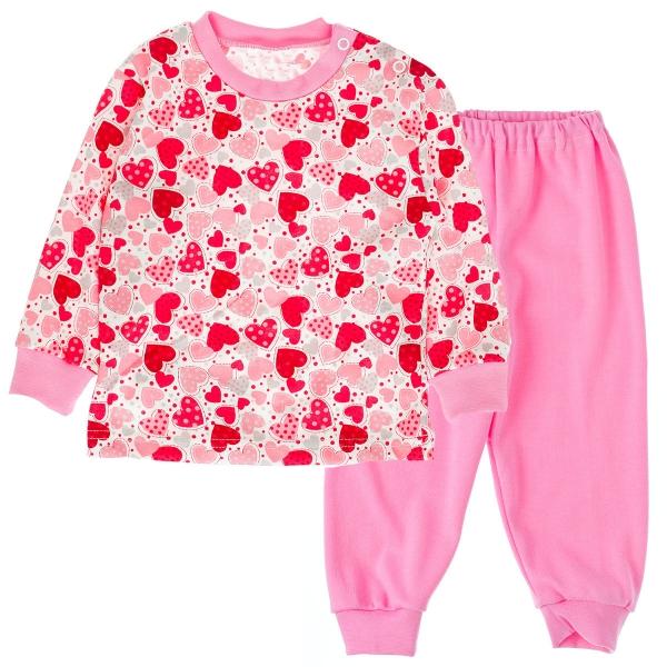 Bavlnené pyžamko Srdiečka - ružové-80 (9-12m)