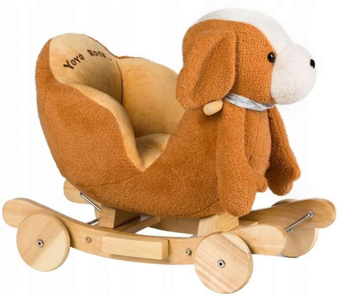 Eco toys Hojdacie, jazdiaci Psík 2v1 -hnědo/biely