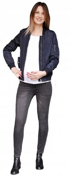 Tehotenské nohavice JEANS s pružným pásom Angie - Čierne-XS (32-34)