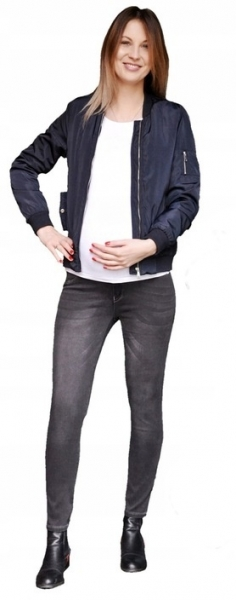 Tehotenské nohavice JEANS s pružným pásom Angie - Čierne, veľ. XL