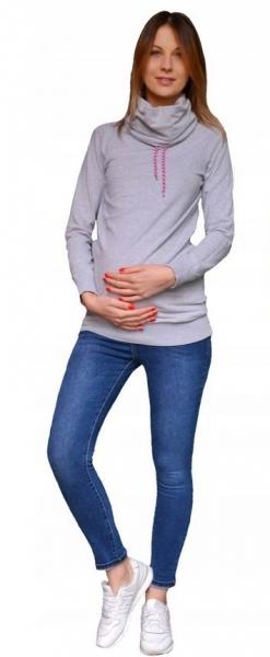 Tehotenské nohavice JEANS s pružným pásom Marika  - Modré, veľ. L-L (40)