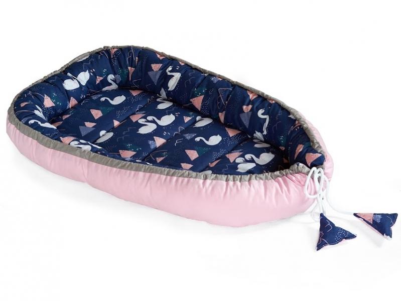 Baby Nellys Obojstranné hniezdočko, kokon 60x90cm - Labut, modrá/růžová