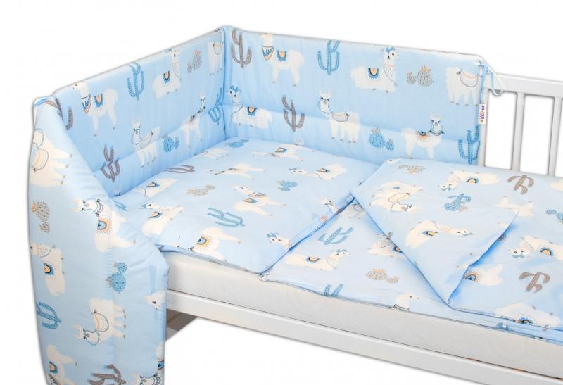 3- dielná sada mantinel s obliečkami Lama, modrá-120x90