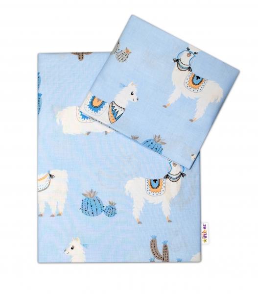 2-dielne bavlnené obliečky Lama, modré