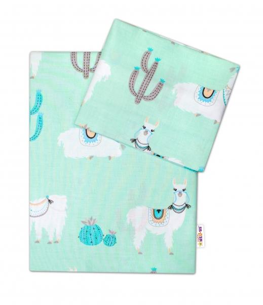 2-dielne bavlnené obliečky Lama, mätové