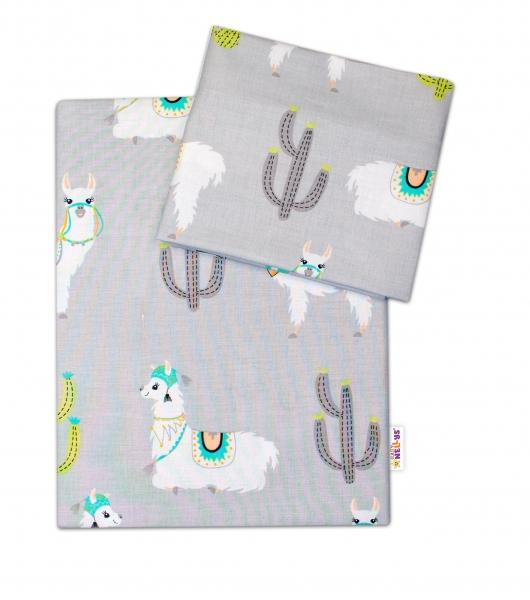 2-dielne bavlnené obliečky Lama - sivé